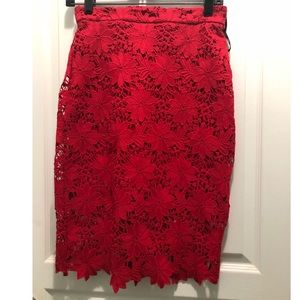 Lulu's Red Lace Skirt